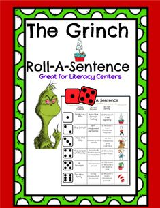 The Grinch Roll A Sentence! This Grinch themed Roll-A-Sentence activity will have your students engaged and having fun as they roll a dice to determine the character, setting and situation! Literacy Games, Writing Activities, Classroom Activities, Classroom Ideas, School Gifts, School Fun, Christmas Writing, Grinch Christmas, Roll A Story