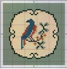 Miniature cross-stitch bird