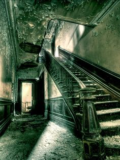 This is a shot of the main staircase in the Steele Mansion in Painesville, Ohio. Abandoned for quite some time now, built in the early 1800's.