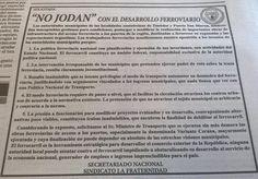"""CRÓNICA FERROVIARIA: La Fraternidad: """"NO JODAN"""" con el desarrollo ferro..."""