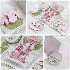 Uwielbiam połączenie różu i zieleni w dziecięcych pracach Pudełko wykonane w całości z papierów Galerii Papieru Exploding Box Card, Baby Cards, Projects To Try, Scrapbook, Diy, Handmade, Crafts, Stamping, Storage