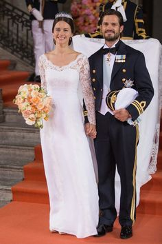 13. Princess Sofia of Sweden When former glamor model Sofia Hellqvist married Prince Carl Philip in June 2015, she had a lot to prove. So she played it safe with a beautiful but simple white gown designed by fellow Swede Ida Sjöstedt. However, she did also make sure her back tattoo remained visible.