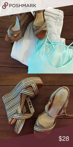 Mia textile wedges Mia textile wedges in tan and navy.  Size 9.  Worn once. Sea foam green strapy top also available.  Bundle two items for 10% off!! Mia Shoes Wedges