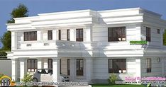 White colored decorative flat roof style home plan by A CUBE creators, Thrissur, Kerala.