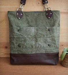 Army Tent & Vintage Suede Tote Bag