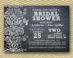 Wedding/Bridal or Baby Shower Invitation - Chalkboard Damask Typography  - Birthday Invitation