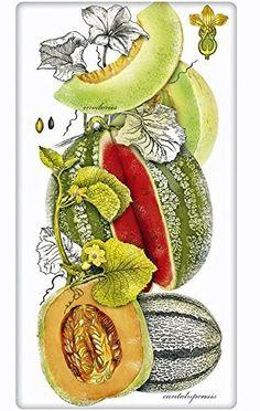 "Botanical Melons 100% Cotton Flour Sack Dish Tea Towel - Mary Lake Thompson 30"" x 30"""