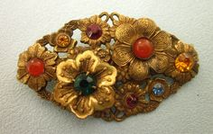 Vintage Czech Jewel Encrusted Floral Brooch from Del Mar Classique Exclusively on Ruby Lane