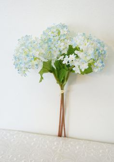 Sweet Home Deco 12'' Silk Snow Ball Geranium Artificial Flower Bunch (3 Stems w/ 3 Flower Heads) Craft Flowers for Arrangements Bouquets (Light Blue) >>> Find out more about the great product at the image link.