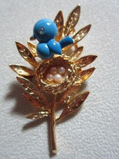 Vintage Pin Signed Trifari Enamel Bird Trembler w Nest Seed Pearls on Leaf RARE   eBay