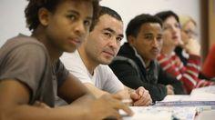 Zum Teil Analphabeten: junge Asylbewerber in einem Deutschkurs in Potsdam