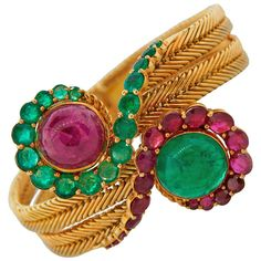 """1960s MARCHAK Paris Ruby Emerald Yellow Gold Bracelet 