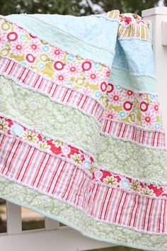 do it yourself divas: DIY: Baby Rag Quilt I like the idea of large strips instead of lots of little pieces.