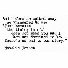 There's no end to our story..