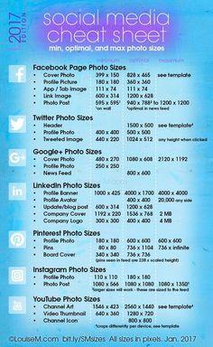 Social Media Image Sizes Cheat Sheet for 2017 #socialmedia #images #cheatsheet #tips