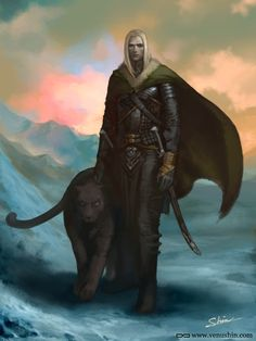 m High Elf Druid Leather Cape Sword Panther mountain snow Rillin - high elf druid who's lived a sheltered life as a sage, but now he must go forth with his dog, Ominous, to find out the truth about his parents. Fantasy Races, Fantasy Warrior, Fantasy Rpg, Fantasy World, Fantasy Inspiration, Character Inspiration, Character Art, Drow Male, Drizzt Do Urden