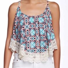 FESTIVAL TANK  Crochet trim popover tank  The cutest!!  So adorable!! It is cropped a little so a tank isn't really necessary unless you want one. Shelf bra!! Yay!  Love the colors and the trim is precious!! No PayPal No trades Price firm unless bundled Tops Tank Tops