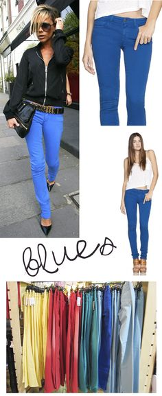 Colored denim! A must this season!