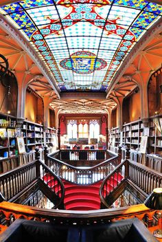 8. Livraria Lello, Porto, Portugal    The art nouveau architecture of this exquisite bookshop is a jewel in the city of Porto. It has a café which is set under a stained glass …