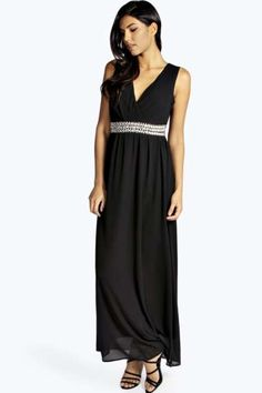 Harlow Embellished Waist Plunge Front Maxi Dress at boohoo.com