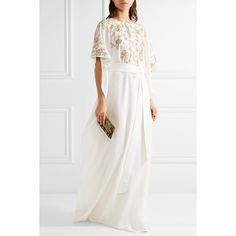 Oscar de la Renta Embroidered silk-crepe gown ($4,290) via Polyvore featuring dresses, gowns, white evening dresses, white gown, white dress, embellished gown and kaftan dress