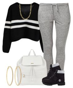 """""""White, Gray, Black & Gold."""" by livelifefreelyy ❤ liked on Polyvore featuring NIKE, DKNY, Timberland, Fremada and Roberta Chiarella"""