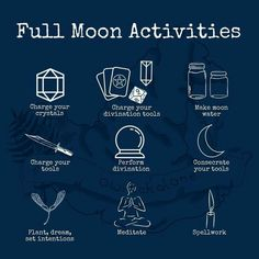 Celebrating the full moon 🌕 . These are all activities you can add nicht your rituals for ANY full moon, they aren't specific to the Pisces… New Moon Rituals, Full Moon Ritual, Full Moon Spells, Wiccan Spell Book, Wiccan Witch, Green Witchcraft, Wicca Witchcraft, Magick, Types Of Witchcraft