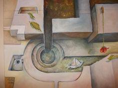 Oleo sobre lienzo. Surealismo Inspirado en una foto de un Museo veneciano