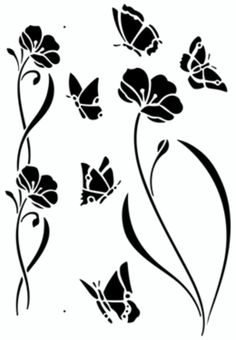 Beautiful Swirly Flowers and Butterflies Silhouette/ Stencils/ Template/ Sjabloon. For all kind of crafts like; journaling, murals, furniture...and more! Also for sale at the Stencil- Library.com