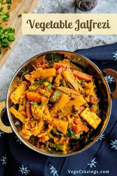 Vegetable Jalfrezi is a semi-dry curry made with a tangy colorful blend of stir fried mixed vegetables cooked in a thick spicy tomato base. Cabbage Soup Recipes, Veg Recipes, Spicy Recipes, Indian Food Recipes, Vegetarian Recipes, Indian Vegetable Recipes, Ethnic Recipes, Capsicum Recipes, Carrot Recipes
