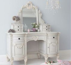 Bonaparte Dressing Table shabby chic loveliness by The French Bedroom Company. Perfect for your French Bedroom. - April 13 2019 at Shabby Chic Furniture, Shabby Chic Bedrooms, French Furniture, Vintage Furniture, Painted Furniture, Furniture Ideas, French Bedrooms, Teak Furniture, Furniture Design