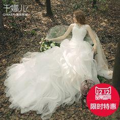 婚纱礼服2015秋新款韩式新娘结婚蕾丝花朵双肩羽毛婚纱长拖尾冬季
