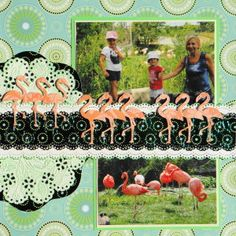 Zoo scrapbook page with the Flamingo Borders from Cricut's Life's a Beach