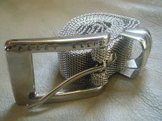 Perry Ellis Silver Tone Chain Mesh Metal Belt by DancingSunbeams on Etsy Metal Belt, Perry Ellis, Cuff Bracelets, Mesh, Chain, Silver, Jewelry, Jewellery Making, Money