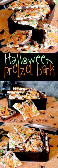 creativemeinspiredyou.com halloween, treats, sweets, snacks, halloween treats, trick or treat, candy, candy bark, bark, pretzels, chocolate, white chocolate, sprinkles, diy, handmade, homemade, easy, holiday, autumn, fall, moms, mom, kids, kid, no bake, food, desserts,