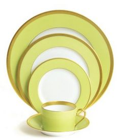 china, gold rim, gold rimmed china, gold rimmed, yellow, pistachio, tea, place setting, tea cup, cup, plate, dinning, dinning set, haviland