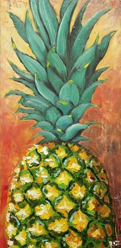 Pineapple Art is Gorgeous! Pineapple Painting, Pineapple Art, Fruit Painting, Art And Illustration, Painting Inspiration, Art Inspo, Fruit Art, Mellow Yellow, Love Art