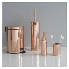 The on-trend Collier copper metal soap dispenser's rosy tones add warmth to a cool bathroom. Buy now at Habitat UK. Rose Gold Room Decor, Rose Gold Rooms, Copper Bathroom Accessories, Toilet Accessories, Gold Bad, Copper Mirror, Copper Metal, Toilet Brushes And Holders, Toothbrush Holders