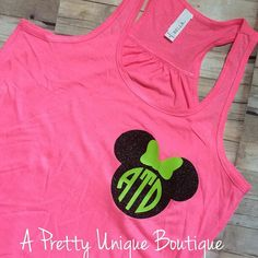 Monogrammed Mickey Head Racerback tank Heat by Sayruhsboutique  this would be so cute for the 5k!