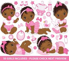 """ITEM: Baby Girl Clipart - Vector Baby Clipart, Baby Clipart, Newborn Clipart, African American Clipart, Baby Shower Clipart, Baby Girl Clip Art for Personal and Commercial Use, Instant Download WHAT INCLUDED: 70 PNG files (transparent background, 300dpi, 6""""x6"""") 3 EPS vector file"""
