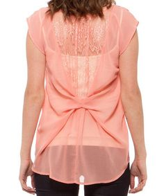 Look at this #zulilyfind! Salmon Lace Back Scoop Neck Top by Cecico #zulilyfinds