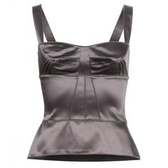 Dolce & Gabbana Dark Grey Satin Corset ($1,215) ❤ liked on Polyvore featuring tops, corset, tops unsorted, satin corset top, satin top, dolce&gabbana, zipper top and corsette tops