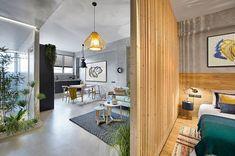 Бетон и дерево: индустриальный дизайн маленькой квартиры в Барселоне (46 кв. м)   Пуфик - блог о дизайне интерьера