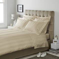 bedroom styling | Cadogan Bed Linen - Stone from The White Company