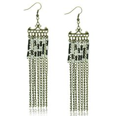 Tassel made with chains are really a hot for this season. While never forget the key point to be eye-catching is to make it the shoulder-length.  A shoulder-grazing statement earring is a must-have treasure for fashion girls like you and me.  From Zacoo.com