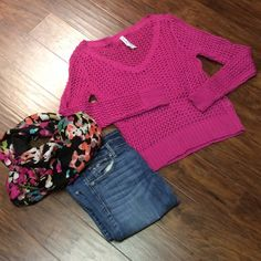 AEROPOSTALE OPEN KNIT PINK SWEATER Pretty pink sweater in like mew condition Aeropostale Sweaters V-Necks