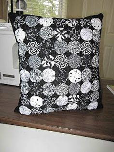 Black and White fabric Yoyo Pillow