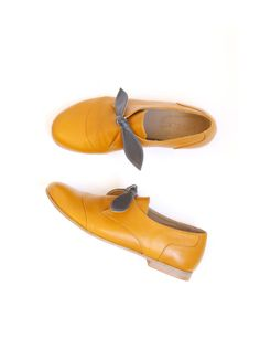 Womens shoes, Yellow Leather slip ons flats handmade for women ADIKILAV On Sale 20%