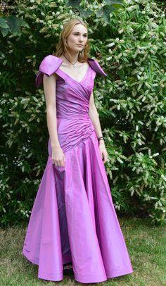 Beautiful Murray Arbeid Cerise Silk Taffeta Evening Dress / Gown