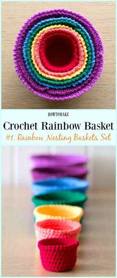 Rainbow Nesting Baskets Set Free Crochet Pattern - #Crochet Rainbow #Basket Free Patterns